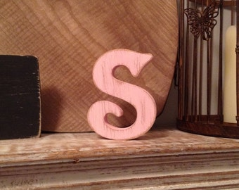 Freestanding Wooden Wedding Letter 'S' - 25cm - Victorian Style Font - various finishes