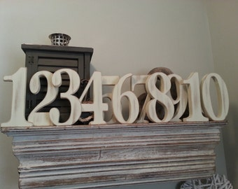 Wedding Table Numbers 1-10 - Handpainted & Freestanding - Set of 11 - 15cm high - Georgia