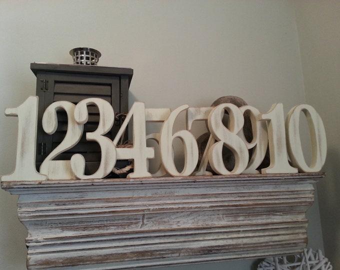 Wedding Table Numbers 1-10 - Handpainted & Freestanding - Set of 11 - 20cm high - Georgia
