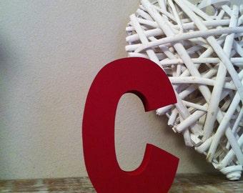 Freestanding Wooden Letter 'C'  - 20cm - Ariel Style Font. Various Colours & Finishes