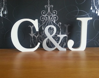 Wooden Wedding Letters, Photo Props - Set of 3 - Hand-painted, Free-standing - 28cm, 20cm