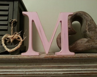 Painted Wooden Letter 'M'  - 20cm - Georgia Style Font, standing,