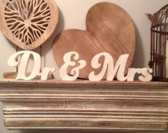 Wooden Wedding Letters - Dr & Mrs - New Funky Font - 10cm - free-standing, painted letters, various colours and finishes