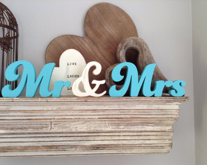Featured listing image: Wooden Wedding Letters - Mr & Mrs - Funky font mix, free-standing, 10cm, any colour
