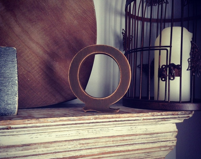 Wooden Letter Q - 30cm x 18mm, Freestanding - Rockwell Font - Various sizes, finishes and colours