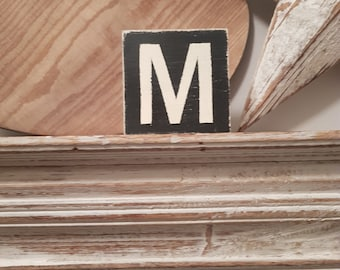 wooden sign, vintage style, personalised letter blocks, initials, wooden letters, monograms, letter M,  10cm square, hand painted