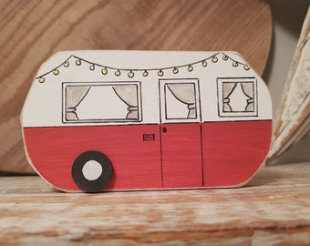 Painted Wooden Caravan Decoration ... standing, named, campers, glampers ... No.4 is Barbara