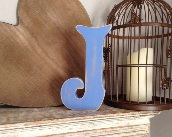 Wooden Letter J – Personalized Name Letter – Nursery Decoration Ideas – Rustic Room Décor – Victorian Style – Decorative Wooden Sign - 25cm