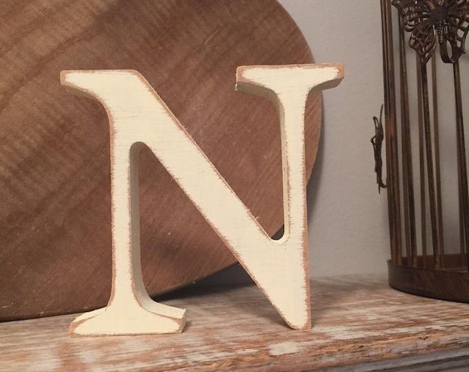Wooden Letter 'N' -  20cm x 18mm - Georgian Font - various finishes, standing