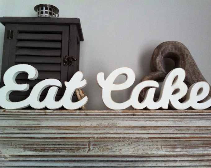 Wooden Wedding Letters - Eat Cake - Free-standing - Script, hand-painted - 10cm