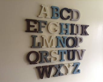 Full Wooden Alphabet - Hand Painted Wooden Letters Set - 26 letters - 20cm high
