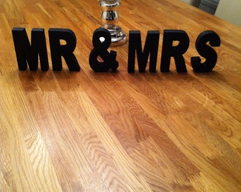 Wooden Wedding Letters - Hand-painted - MR & MRS - 10cm - Free-standing - various colours and finishes