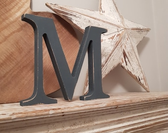 Wooden Letter M - 20cm x 18mm, Freestanding - Georgian Font - Various sizes, finishes and colours