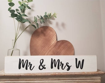 Handmade Wooden Sign - Personalised - MR & MRS, plus surname initial - any letter!  Wedding gift, newlyweds, Large, 60cm