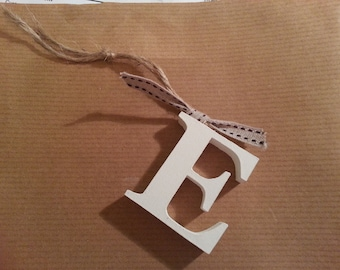 Hanging Wooden Letter Tag - Hand Painted - Letter E - Gift Tag