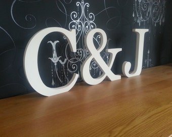 Set of 3 - Handpainted Wooden Freestanding Wedding Letters, Photo Props - 20cm