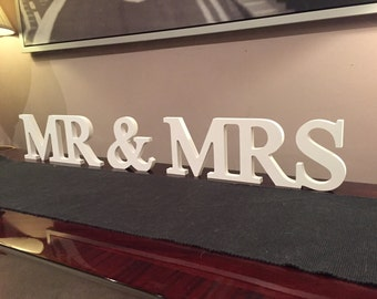 Wooden Wedding Letters - Mr & Mrs - Joined, 20cm high, Georgian Font