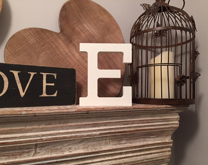 Wooden Letter 'E' - 25cm - Rockwell Font - various finishes, standing