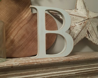 Wooden Letter B - 20cm x 18mm, Freestanding - Georgian Font - Various sizes, finishes and colours