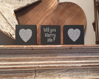 Wooden proposal signs - will you marry me, set of 3, 6cm, super cute