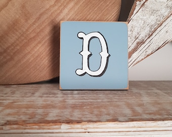 personalised letter blocks, initials, wooden letters, monograms, letter D,  10cm square, hand painted