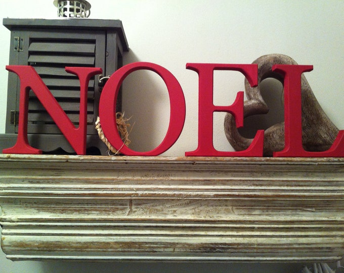 Christmas Hand-painted Wooden Letters - NOEL - 15cm