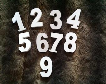 Wedding Table Numbers - Handpainted & Freestanding - Set of 9 - 10cm high