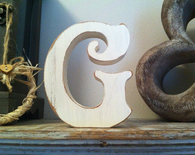 Wooden Letter G – Personalized Name Letter – Nursery Decoration Ideas – Rustic Room Décor – Victorian Style – Decorative Wooden Sign - 25cm