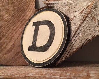 "8"" Round Letter D Sign, Monogram, Initial, Wall Art, Home Decor, Rustic Letters, All letters available, inc ampersand"