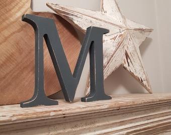 Wooden Letter 'M' -  30cm - Georgian Font - various finishes, standing