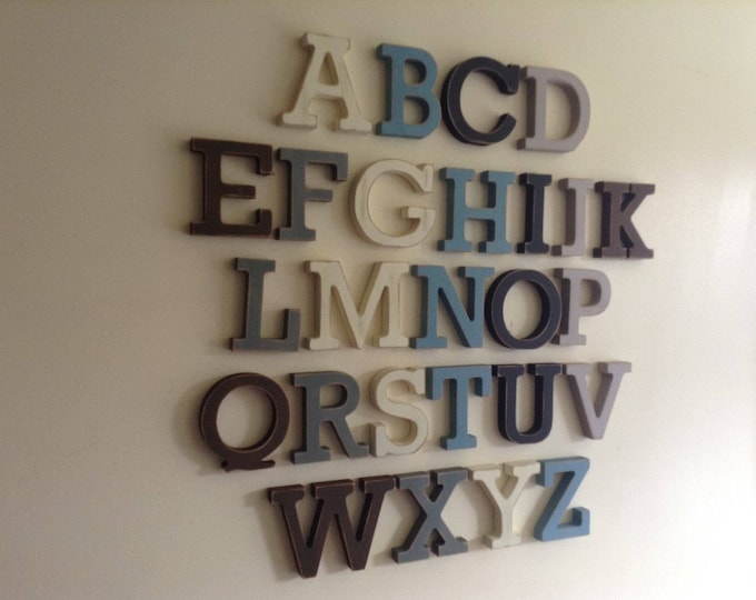 Full Wooden Alphabet - Hand Painted Wooden Letters Set - 26 letters - 12cm high, Various Colours and Finishes