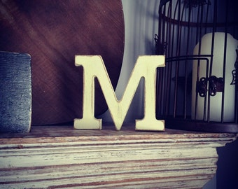 Wooden Letter 'M' - 25cm - Rockwell Font - various finishes, standing