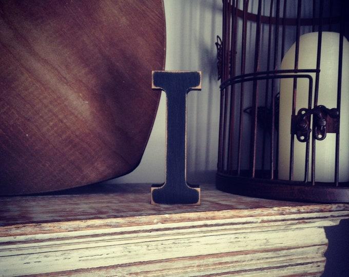 Wooden Letter 'I' - 25cm - Rockwell Font - various finishes, standing
