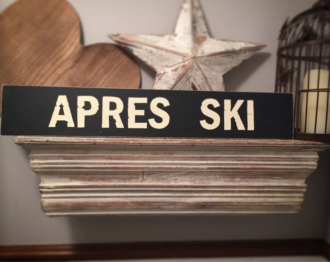Featured listing image: Handmade Wooden Sign - Life, APRES SKI - 60cm