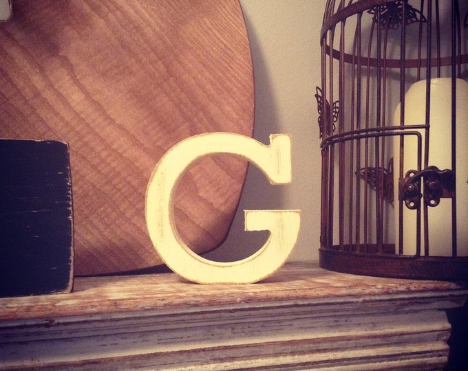 Wooden Letter G – Personalized Name Letter – Nursery Decoration Ideas – Rustic Room Décor – Rockwell Style G – Decorative Wooden Sign