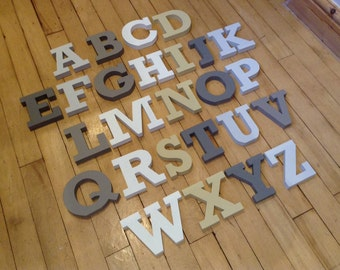 Wooden Alphabet Letters - Set - 26 letters - 12cm high - RS font - various colours and finishes