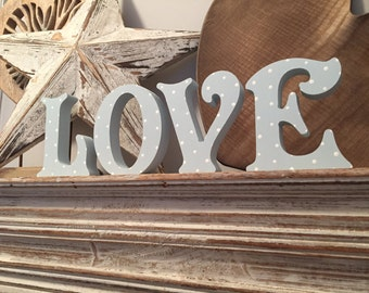 Wooden Letters - Hand-painted - LOVE - Victorian, Free-standing, 15cm