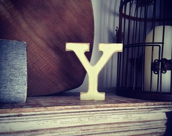 Wooden Letter 'Y' - 10cm - Rockwell Font - various finishes, standing