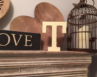 Wooden Letter 'T'- 20cm- Rockwell Font - various finishes, standing