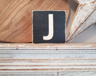 wooden sign, vintage style, personalised letter blocks, initials, wooden letters, monograms, letter J,  10cm square, hand painted