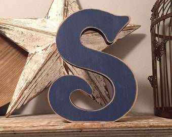 Wooden Letter 'S' - 30cm - Victorian Font - various finishes, standing