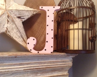 Hand-painted Wooden Letter J - Freestanding - Georgia Font - Various sizes, finishes and colours - 30cm