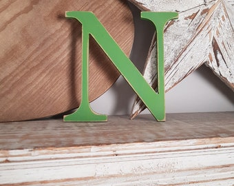Wooden Letter N - painted and distressed - letter art, interior decor, 15cm