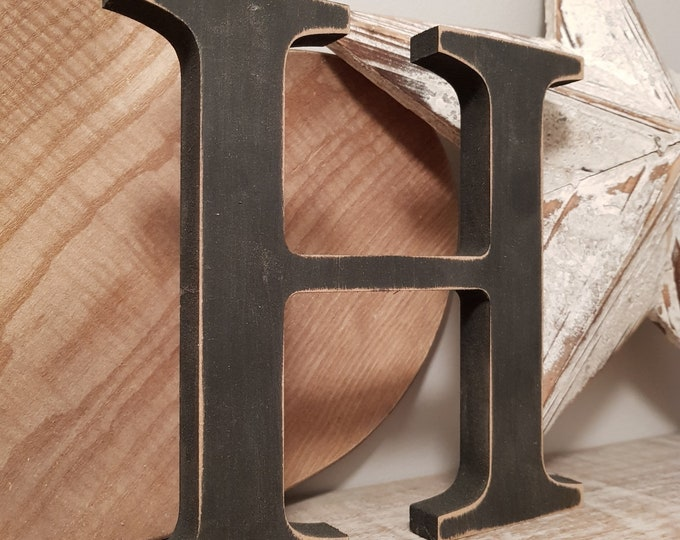 Wooden Letter H - 30cm x 18mm, Freestanding - Georgian Font - Various sizes, finishes and colours