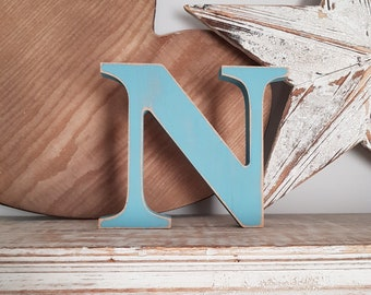 Wooden Letter N - painted and distressed - chunky, letter art, 15cm