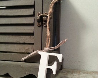 Hanging Wooden Letter Tag - Hand Painted - Letter F