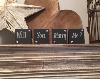 Wooden proposal signs - 'Will You Marry Me?' , set of 4, 6cm, super cute