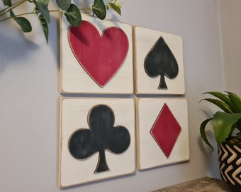 3D Playing Card Suit Signs - Set of 4 - wooden Card Symbols - Heart, Club, Diamond, Spade, Games Room Decor