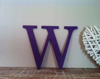 Wooden Wall Letter - 'W' - New Times Roman - 30cm - Hand-painted