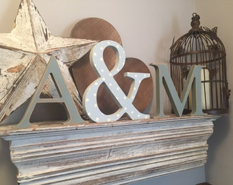 Set of 3 - Hand painted Wooden Freestanding Wedding Letters, Photo Props, letters 20cm, ampersand 25cm - various colours and finishes